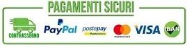 Acquista in sicurezza tramite: PayPal, Bonifico, Carte di Credito,  PostPay, Contrassegno.